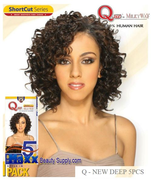 MilkyWay Que Human Hair Weave Short Cut Series - Q-New Deep 5pcs
